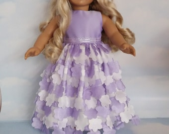 18 inch doll clothes - #240 Purple and White Gown handmade to fit the American Girl Doll