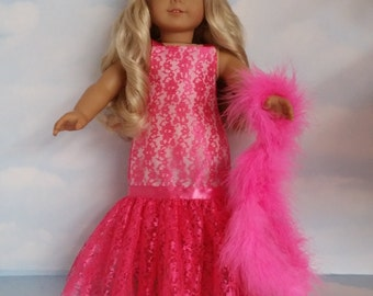 18 inch doll clothes - #217 Neon Pink Lace Gown and Boa handmade to fit the AmericaDn Girl Doll - FREE SHIPPING