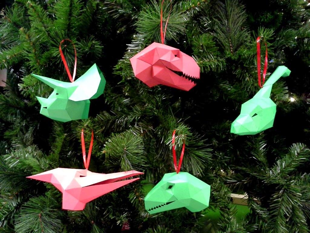 Dinosaur christmas ornaments - Dinosaur Christmas Ornaments Pattern Make Your Own Paper Ornaments This Christmas Christmas Tree Ornaments Dinosaur Ornaments