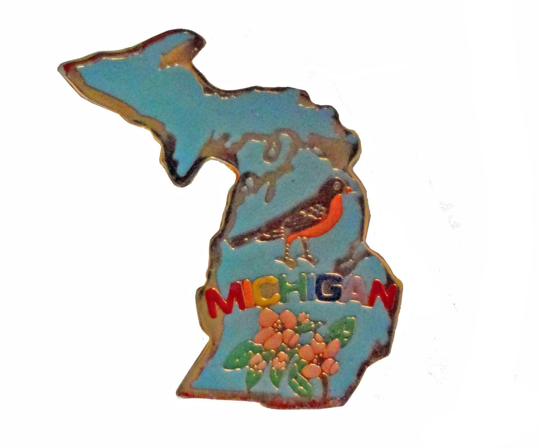 MICHIGAN State Flower Bird vintage lapel cloisonne enamel pin