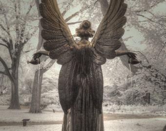 Angel, Infrared photography, St. Louis Missouri Botanical Garden, Feng Shui, Garden home decor