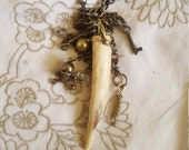 Handmade Deer Antler Pendant Necklace with skull, Key, and handmade charms Necklace