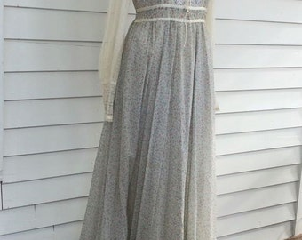 Gunne Sax Floral Dress Blue Western Country Print Lace Corset 11 S M