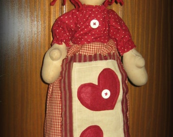 OOAK Primitive Raggedy Annie Doll Plastic Bag Keeper