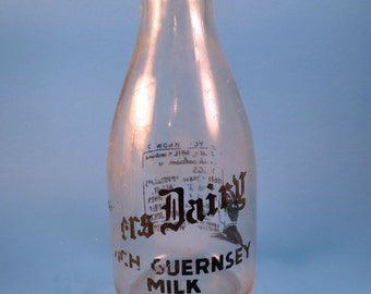 Vintage Glass Milk Bottle Peters Dairy Guernsey Milk Michigan City Indiana