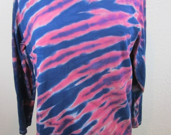 Long Sleeve Tie Dye Ladies Size Pink Navy Stripes