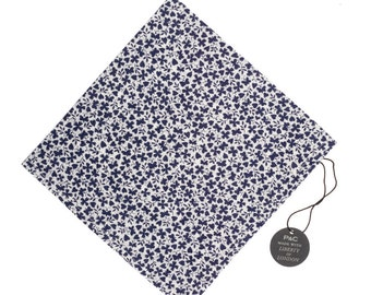 Pomp & Ceremony Pocket Square handkerchief Liberty of London Navy and white floral