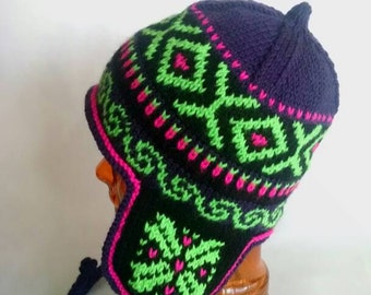 Neon Nontraditional Peruvian-style Wool Blend Winter Earflap Hat