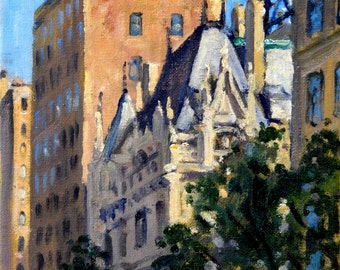 Fifth Avenue Rooftops, The Jewish Museum NYC. 8x10 Oil on Canvas, Impressionist Cityscape, New York City Painting, Signed Original Fine Art