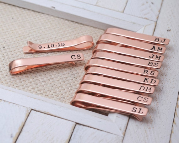 Groomsmen Set Copper Tie Clips Long - Personalized Wedding Bridal Jewelry - Groomsman Best Man Father of the Bride/Groom - Wedding Keepsake