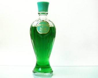 Vintage Spice 'n Ice Cologne by Bourjois - 1950s - mint green celluloid lid   - 6 oz - 80% full