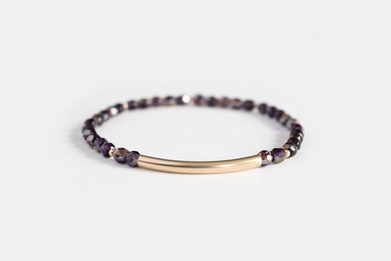 Tanzanite Beaded Bar Bracelet - Gold Filled or Sterling Silver - Nuelle