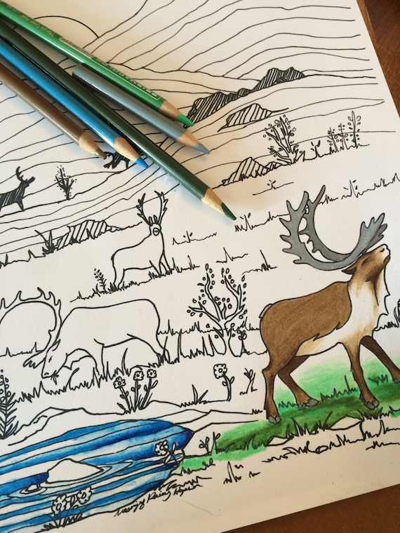 Caribou in the Mountains - Hand drawn Alaska Native coloring page - download pdf and print at home