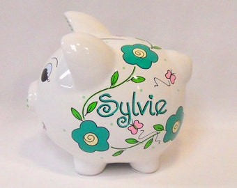 Girl's Personalized Piggy Bank Green Flowers and Pink Butterflies