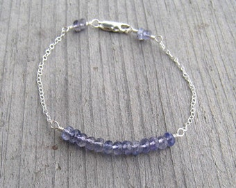 Iolite Bracelet, On Sale, Sterling Silver, Tiny Stacking Bracelet, September Birthstone, Water Sapphire, Iolite Jewelry