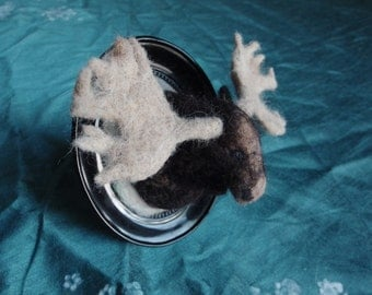 Moose - needle felted framed sculpture