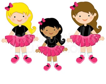 Hot Pink Tutu Girl Cute Digital Clipart, Girl in Tutu Clip art, Tutu Graphics, Cute Tutu Illustration, #223
