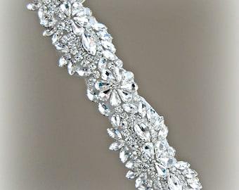 """Crystal Applique for Wedding Gown or Sash, Rhinestone Trim, 24"""""""
