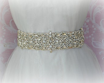 "Crystal Bridal Sash, Champagne Wedding Belt, Wedding Sash, 17"" of Crystals - NORA"