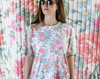 90's ribbed floral tunic t-shirt dress M