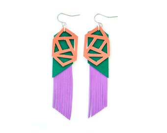 Geometric Earrings, Fringe Leather Earrings, Purple and Green Earrings, Color Block Earrings, Long Statement Earrings, Geometric Jewelry