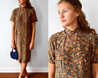 Vintage Dress, 1960s, 1960s Brown Floral Dress, Oriental Style Dress, Casual, Career, Summer, Vintage Dresses, Floral Dress, Dinner Dress