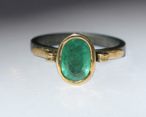 Hand Forged 1.30 CT Natural Medium Dark Columbian Emerald Ring Oxidized Sterling And 18K Gold SZ 6.5 Amphora Ring