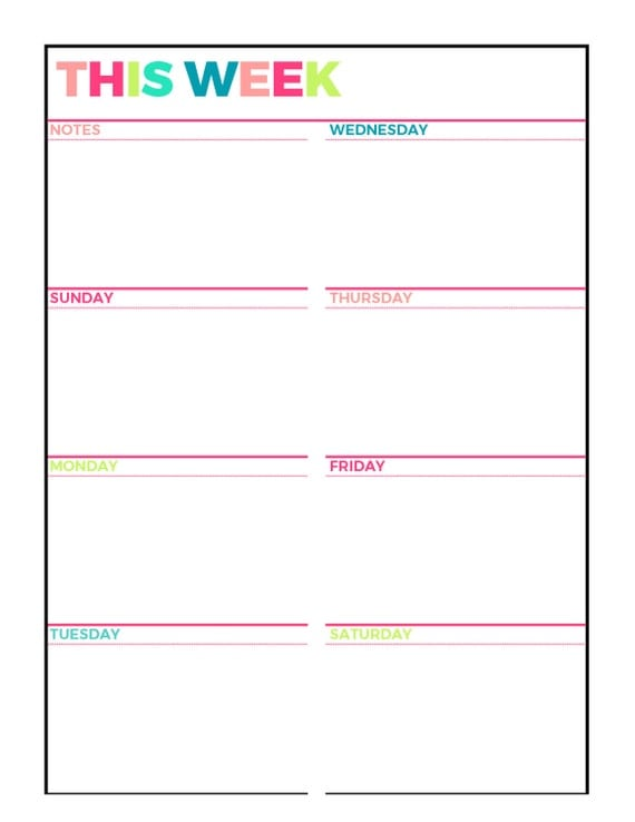 Bright weekly planner printable week on 1 page for Saturday to friday calendar template