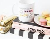 Turning Dreams into Empires Takes Hustle and Heart / black gold coffee mug - inspirational - Girl boss - boss lady - entrepreneur - creative