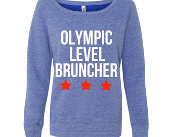 PREORDER - Olympic Level Bruncher / red white and blue loose fit sweater - morning - mimosa - champage - weekend - breakfast - sunday funday