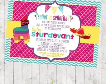 Senor or Senorita - Gender Reveal - Fiesta - Invitation - customizable - DIGITAL IMAGE AVAILABLE