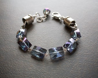 Montana Blue Luster Crystal Rectangle Starbust Bracelet with Nickel 357 Bullet Caps