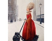 Evening Stroll. Signed Art Print of an Original Surreal Oil Painting
