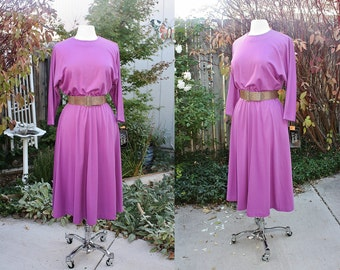 1980's Orchid Knit Dress Size 7/8 Batwing Dolman Vintage Retro 80's Hipster Belted Office Day Raspberry