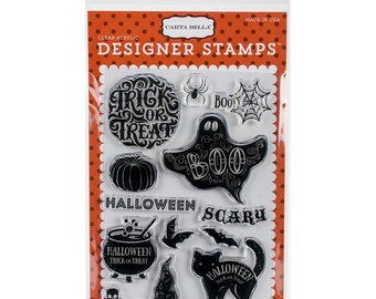 Carta Bella Haunted Collection Clear Acrylic Stamps Halloween, Trick or Treat