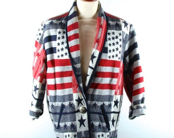 USA Themed Tapestry Jacket with Silver Concho Button || Red, White, and Blue