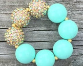 Gold and Aqua Chunky Bracelet, Mint Bracelet, Chunky Necklace, Bubblegum Necklace, Turquoise Bracelet, Gold and Mint Jewelry