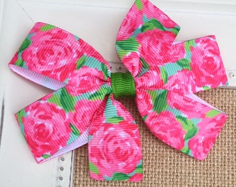 Lilly Pulitzer Hair Bow, Lilly Pulitzer First Impression, Lilly P Bow, Lily Pulitzer Hair Accessories, Lilly Pulitzer Inspired Hair Bow