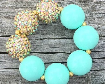 Gold and Aqua Chunky Bracelet, Mint Bracelet, Chunky Necklace, Bubblegum Necklace, Turquoise Bracelet, Gold and Mint Jewelry