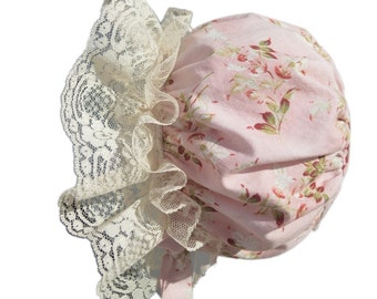 Baby Bonnet, Vintage Style With Ivory Lace, Newborn baby Girl, Summer Hat, Photo Prop, Hand Made by Bobka Baby