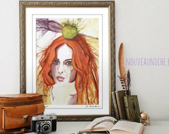 Inspirational Womens Gift Office Decor for Women Watercolor Portrait Redhead Watercolor Print Feminist Art Prints Pop Art Prints Dorm Decor