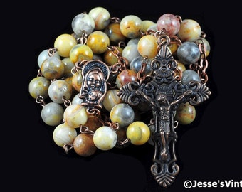 Catholic Rosary Beads Rustic Yellow Brown Gray Crazy Lace Agate Natural Stone Traditional Copper Five Decade Catholic Gift
