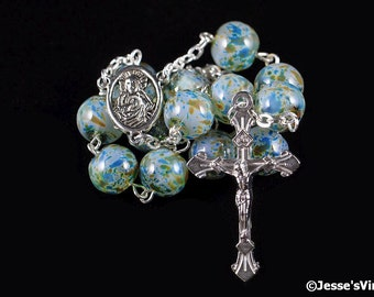 Auto Rosary Pocket Chaplet Green Brown Mottled Glass Bead 1 Decade Silver