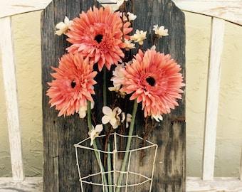 String art basket flower decor coral cream rustic wood