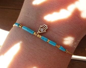 Turquoise Gemstone Bracelet with Gold Hamsa Charm