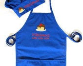 Personalized Kids Apron AND Chef Hat - Monogrammed Childs Apron and Chef Hat - Cake
