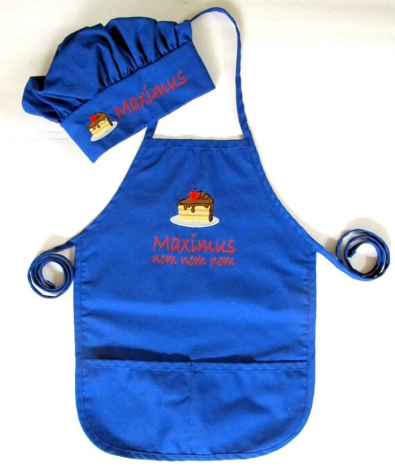 Personalized Kids Apron AND Chef Hat Monogrammed Childs
