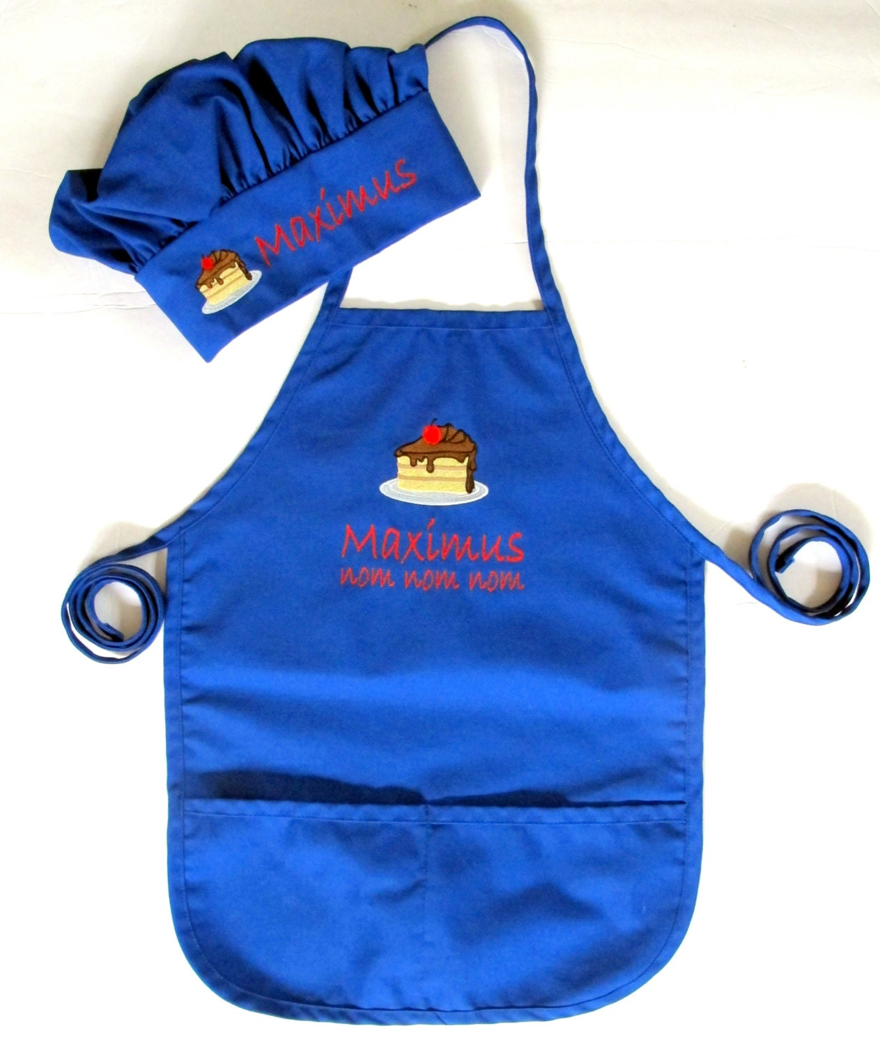 personalized kids apron and chef hat monogrammed childs. Black Bedroom Furniture Sets. Home Design Ideas