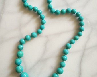 SHOP CLOSING SALE Vintage 1960s Teal Turquoise Necklace Beaded