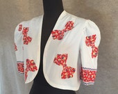 Vintage 40's Jacket, White Cotton Bolero with Red Bows, 40's 50's Rockabilly Style, Size Medium, Bust 38